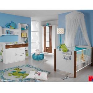 Kinderzimmereinrichtung - Babyzimmer weiß Nussbaum