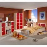 Kinderzimmereinrichtung - Jugendzimmer rot / Ahorn