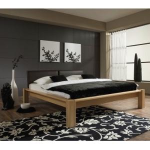 Schlafzimmereinrichtung - Bett Kernbuche massiv -Leder braun