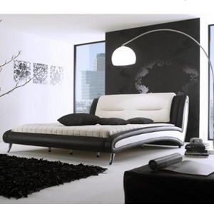 Lederbett Luciano - schwarz/weiß