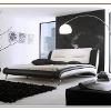 Schlafzimmereinrichtung - Lederbett Luciano - schwarz/weiß