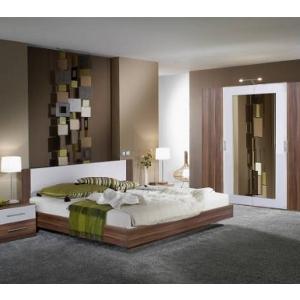 Schlafzimmereinrichtung - Schlafzimmer Nussbaum weiß