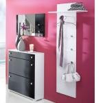 Vorzimmereinrichtung - Garderoben-Set - Hochglanz weiß/schwarz