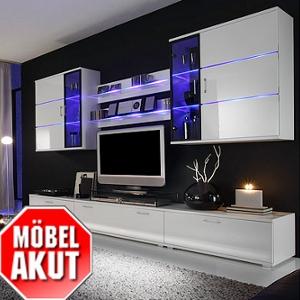 Wohnzimmereinrichtung - Anbauwand hinterleuchtet - weiß Hochglanz