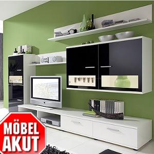 Wohnzimmereinrichtung - Anbauwand weiß - schwarzes lackiert