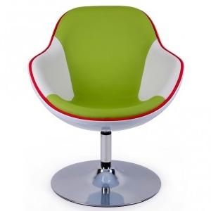 Retrostil Sessel modern interpretiert - chrom, grün,weiß,rot