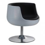 Wohnzimmereinrichtung - Club Lounge-Sessel - rund modern, weiß schwarz