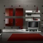 Wohnzimmereinrichtung - Design Wohnwand rot- weiß
