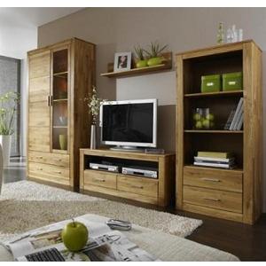 Wohnzimmereinrichtung - Regal Andorra - Wildeiche geölt