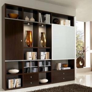Wohnzimmereinrichtung - Regalsystem Wenge - Schiebetüre