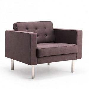 Wohnzimmereinrichtung - Sessel in Leinenoptik - Farbe Kaffee