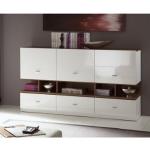 Wohnzimmereinrichtung - Top-Design - Sideboard weiß - Nuss