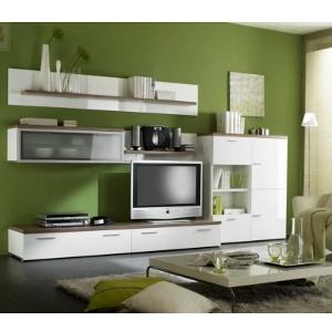 Wohnzimmereinrichtung - Wohnwand weiß - Hochglanz Nussbaum - Woody