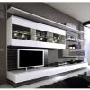 Wohnzimmereinrichtung - Wohnwand Hochglanz - weiß Zebra