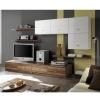 Wohnzimmereinrichtung - Wohnzimmerverbau Nuss - weiss Hochglanz